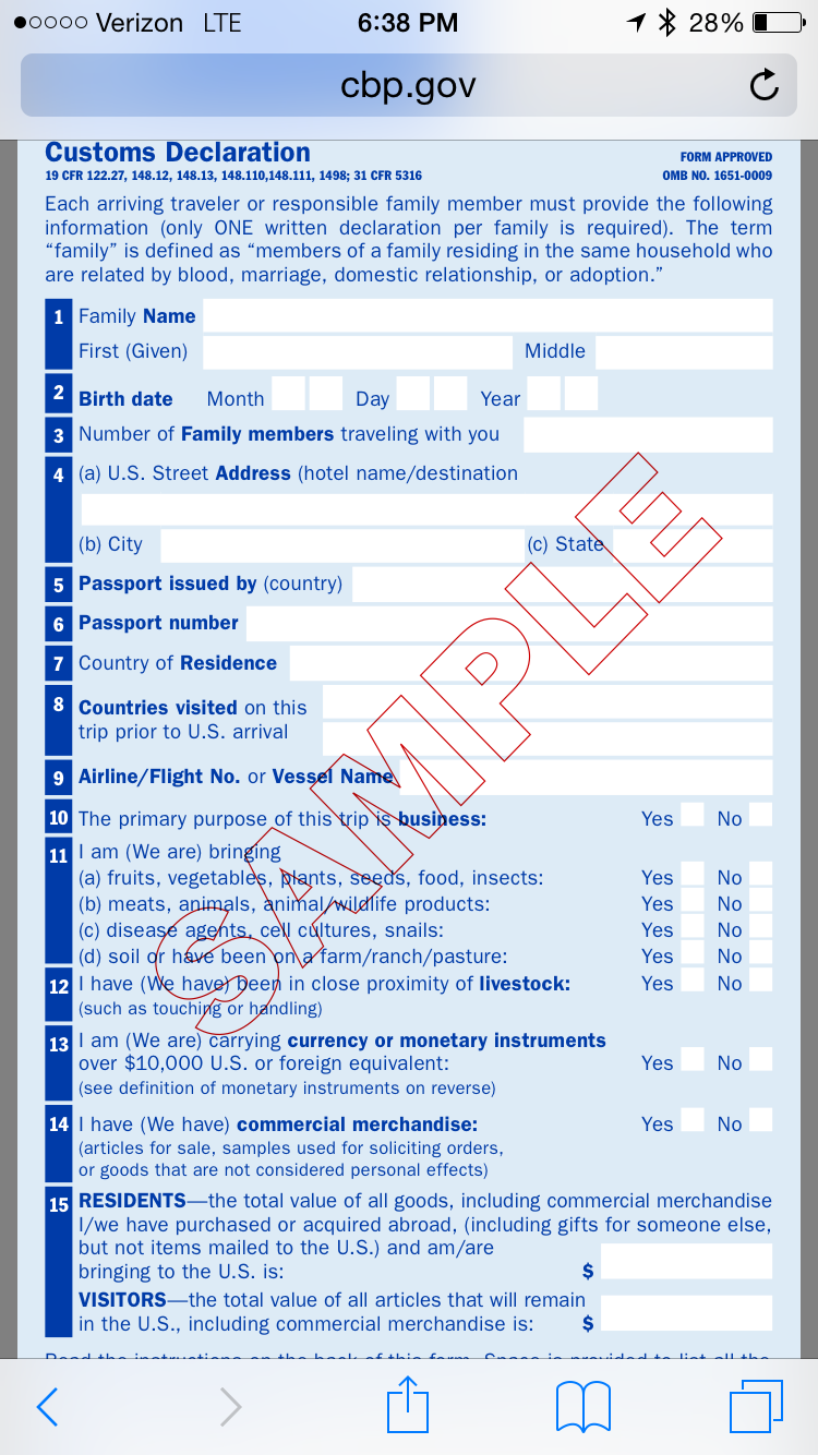 How Serious Are Those Customs/Global Entry Questions?